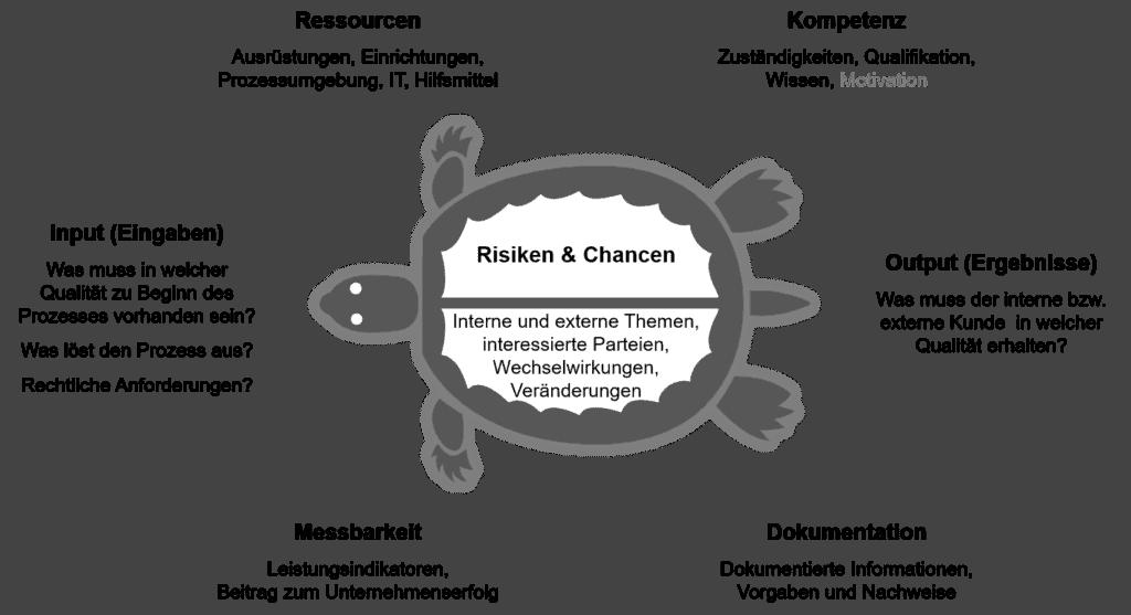 Turtle Diagramm - Themen für die Optimierung von Geschäftsprozessen